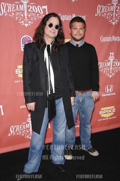 "Ozzy Osbourne & son Jack Osbourne at Spike TV's ""Scream 2007"" Awards honoring the best in horror, sci-fi, fantasy & comic genres, at the Greak Theatre, Hollywood..October 20, 2007  Los Angeles, CA.Picture: Paul Smith / Featureflash"