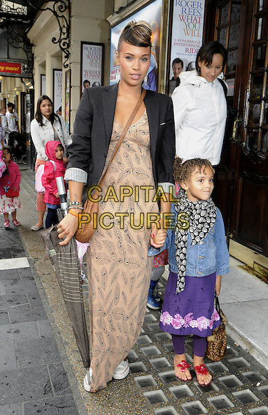 Javine Hylton & her daughter Angel Harvey.The 'Nickelodeon's Dora the Explorer LIVE! Search for the City of Lost Toys' press performance, Apollo Theatre, Shaftesbury Avenue, London, England..August 29th, 2012.full length black jean denim jacket maxi dress black blazer beige blue jacket holding hands mother mom mum child daughter kid family .CAP/PP/BK.©Bob Kent/PP/Capital Pictures.