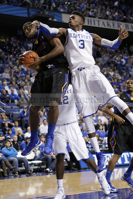 UK forward Nerlens Noel attempts to grab a rebound ball at the UK men's baksetball game vs. Morehead State at Rupp Arena in Lexington, Ky., on Wednesday, November 21, 2012. Photo by Tessa Lighty | Staff