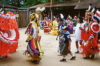 Tribal dance performance. Audience participation. Boy scout. American Indian. Native tribe. Livingston Texas, Alabama-Coushatta Indian Reservation.