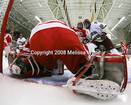 Kevin Shattenkirk (Boston University - 3), Ben Smith (Boston College - 12), Kieran Millan (Boston University - 31), Nick Bonino (Boston University - 13), Jimmy Hayes (Boston College - 10) (Yip) - The Boston University Terriers defeated the Boston College Eagles 3-1 at Kelley Rink in Conte Forum in Chestnut Hill, Massachusetts.