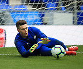 17th March 2019, Goodison Park, Liverpool, England; EPL Premier League Football, Everton versus Chelsea; Chelsea goalkeeper Kepa Arrizabalaga warms up prior to the kick off