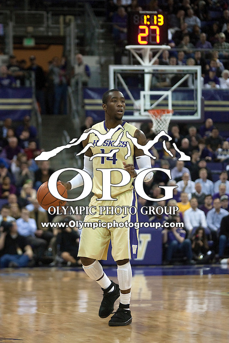 Feb 2, 2012:  Washington's #14 Tony Wroten brings the ball down court against UCLA.  Washington defeated UCLA 71-69 at Alaska Airlines Arena Seattle, Washington...