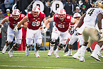 Wisconsin Badgers offensive linemen Tyler Biadasz (61), Beau Benzschawel (66) and David Edwards (79) during an NCAA College Big Ten Conference football game against the Purdue Boilermakers Saturday, October 14, 2017, in Madison, Wis. The Badgers won 17-9. (Photo by David Stluka)