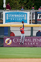 New Hampshire Fisher Cats right fielder Andrew Guillotte (1) leaps to make a catch at the wall during the first game of a doubleheader against the Harrisburg Senators on May 13, 2018 at FNB Field in Harrisburg, Pennsylvania.  New Hampshire defeated Harrisburg 6-1.  (Mike Janes/Four Seam Images)
