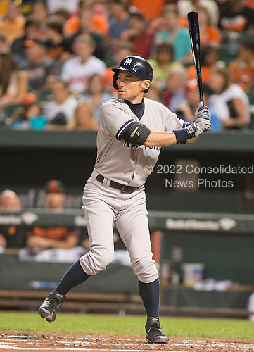 New York Yankees right fielder Ichiro Suzuki (31) bats in the second inning against the Baltimore Orioles at Oriole Park at Camden Yards in Baltimore, MD on Friday, September 12, 2014.  The score was 0 - 0 after two innings.<br /> Credit: Ron Sachs / CNP<br /> (RESTRICTION: NO New York or New Jersey Newspapers or newspapers within a 75 mile radius of New York City)