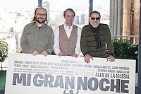 Santiago Segura, Luis Callejo and Enrique Villen pose during `Mi gran noche´ film presentation in Madrid, Spain. February 20, 2015. (ALTERPHOTOS/Victor Blanco) /NORTEphoto.com