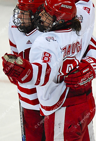 """6'1"""" Badger junior Jinelle Zaugg scores the winning goal in the 4th overtime at the Kohl Center as Wisconsin tops Harvard 1-0 Saturday night"""