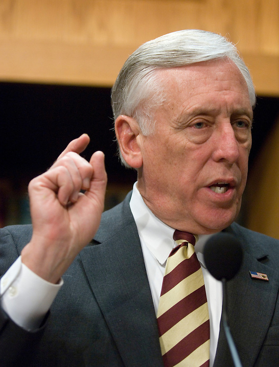 02/13/07--House Majority Leader Steny Hoyer, D-Md., during a news conference on the non-binding Iraq resolution lawmakers began to debate Tuesday. The resolution would express support for U.S. troops and would ÒdisapproveÓ of the increase of 21,500 combat soldiers and Marines in Iraq. It is sponsored by Democrats Ike Skelton of Missouri, chairman of the House Armed Services Committee, and Tom Lantos of California, the chairman of the House Foreign Affairs panel, as well as Republican Walter B. Jones of North Carolina. Democrats, seeking to avoid a fight over funding for the Iraq operation, which scuttled efforts to consider a similar measure in the Senate and likely would split their majority, crafted a rule for debate (H Res 157) to block Republicans from offering any substitute amendments. Congressional Quarterly Photo by Scott J. Ferrell