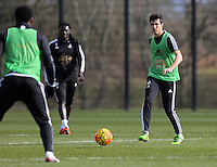 Pictured: Jack Cork (R) Thursday 25 February<br /> Re: Swansea City FC training at Fairwood, near Swansea, Wales, UK, ahead of their game against Tottenham Hotspur.