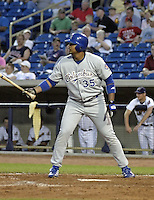 May 12, 2004:  Luis Jimenez of the Columbus Catfish, South Atlantic League (low-A) affiliate of the Los Angeles Dodgers, during a game at Classic Park in Eastlake, OH.  Photo by:  Mike Janes/Four Seam Images