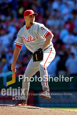 23 September 2007: Philadelphia Phillies pitcher Kane Davis in action against the Washington Nationals at Robert F. Kennedy Memorial Stadium in Washington, DC. The Nationals defeated the visiting Phillies 5-3 to close out the 2007 home season and the final game in baseball history at RFK Stadium. The Nationals will open up the 2008 season at Nationals Park, their new facility currently under construction.. .Mandatory Photo Credit: Ed Wolfstein Photo