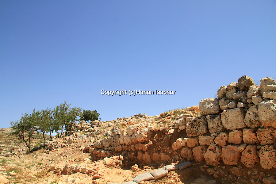 Samaria, remains of the Canaanite wall in Tel Shiloh