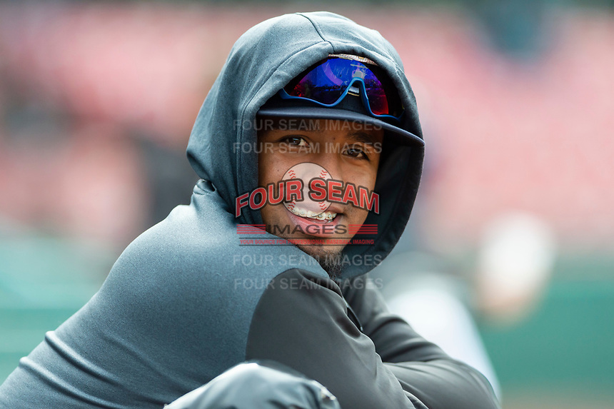 Kane County Cougars infielder Eddie Hernandez (14) during a Midwest League game against the Cedar Rapids Kernels at Northwestern Medicine Field on April 28, 2019 in Geneva, Illinois. Kane County defeated Cedar Rapids 3-2 in game one of a doubleheader. (Zachary Lucy/Four Seam Images)
