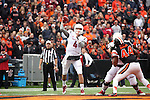 Luke Falk fires a pass during Pac-12 action against Oregon State at Reser Stadium in Corvallis, Oregon, on November 8, 2014.  Falk threw for 471 yards and 5 touchdowns in his debut at quarterback, and Washington State defeated the Beavers, 39-32.
