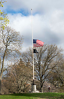 New York, New York City, during the time of Coronavirus. Flags in New York state fly at half staff to honor the thousands of lives lost to the Coronavirus.