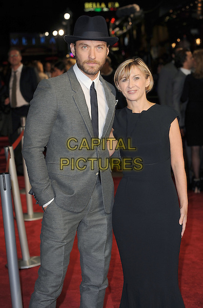 Jude Law and Sandra Hebron.'360' opening gala premiere, 55th BFI London Film Festival, Odeon cinema, Leicester Square, London, England..October 12th 2011.half length suit dress shirt tie black blue white grey gray hat beard facial hair .CAP/BEL.©Tom Belcher/Capital Pictures.