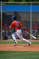 Boston Red Sox Jordan Wren (22) bats during a Minor League Spring Training game against the Tampa Bay Rays on March 25, 2019 at the Charlotte County Sports Complex in Port Charlotte, Florida.  (Mike Janes/Four Seam Images)