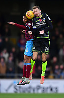 Scunthorpe United's Funso Ojo vies for possession with Bristol Rovers' Chris Lines<br /> <br /> Photographer Chris Vaughan/CameraSport<br /> <br /> The EFL Sky Bet League One - Scunthorpe United v Bristol Rovers - Saturday 11th November 2017 - Glanford Park - Scunthorpe<br /> <br /> World Copyright &copy; 2017 CameraSport. All rights reserved. 43 Linden Ave. Countesthorpe. Leicester. England. LE8 5PG - Tel: +44 (0) 116 277 4147 - admin@camerasport.com - www.camerasport.com