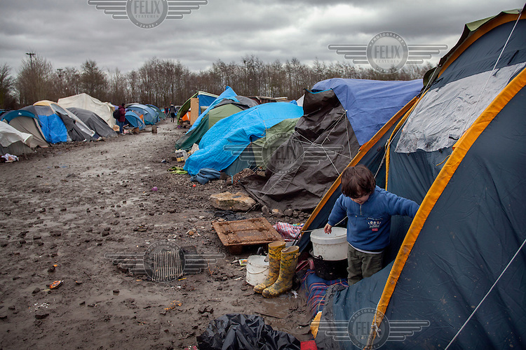 The camp at Grande-Synthe in Northern France, which is home to Kurdish people from Iraq and Syria, and is becoming tougher as Winter develops and the ground turns to mud.