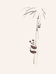 Cute big panda and a baby panda climbing bamboo trees, artistic design, oriental style painting illustration isolated on light beige ivory background