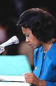 Professor Anita F. Hill looks at her notes as she testifies before the United States Senate Judiciary Committee on the confirmation of Judge Clarence Thomas to be Associate Justice of the US Supreme Court in Washington, DC on October 11, 1991.<br /> Credit: Arnie Sachs / CNP