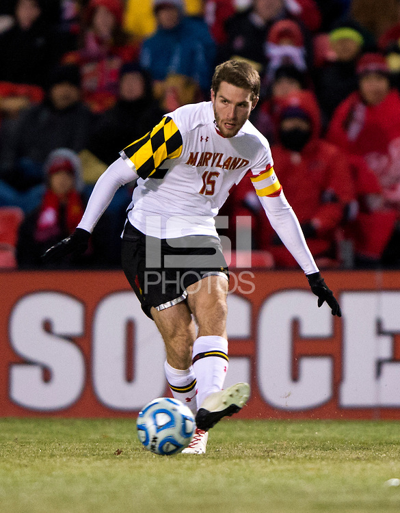 Patrick Mullins (15) of Maryland brings the ball upfield during the second round of the NCAA tournament at Ludwig Field in College Park, MD.  Maryland defeated Providence, 3-1.
