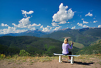The Sawatch Range with lady hiker. Near Vail, Colorado
