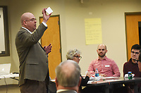 NWA Democrat-Gazette/FLIP PUTTHOFF <br />A LAKE KIND OF DAY<br />Lance Arbuckle, principal at Rogers New Technology High School, asks community residents on Wednesday Nov. 28 2018 for questions and comments at the Communithy in Action meeeting.
