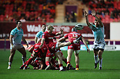 29th September 2017, Parc y Scarlets, Llanelli, Wales; Guinness Pro14 Rugby, Scarlets versus Connacht; Aled Davies of Scarlets kicks the ball clear from a ruck