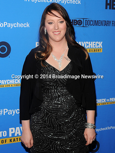 Pictured: Katrina Gilbert<br /> Mandatory Credit &copy; Jack Shea/Starshots/Broadimage<br /> Paycheck To Paycheck: The Life And Times Of Katrina Gilbert - New York Premiere<br /> <br /> 3/13/14, New York City, New York, United States of America<br /> <br /> Broadimage Newswire<br /> Los Angeles 1+  (310) 301-1027<br /> New York      1+  (646) 827-9134<br /> sales@broadimage.com<br /> http://www.broadimage.com