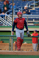State College Spikes catcher Cameron Knight (13) during a NY-Penn League game against the Batavia Muckdogs on August 24, 2019 at Dwyer Stadium in Batavia, New York.  State College defeated Batavia 1-0.  (Mike Janes/Four Seam Images)