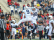 College Park, MD - November 25, 2017: Penn State Nittany Lions quarterback Trace McSorley (9) and Penn State Nittany Lions tight end Mike Gesicki (88) celebrates after a touchdown during game between Penn St and Maryland at  Capital One Field at Maryland Stadium in College Park, MD.  (Photo by Elliott Brown/Media Images International)