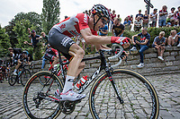 Tim Wellens (BEL/Lotto Soudal) and later stage winner Jasper Stuyven (BEL/Trek Segafredo) up the infamous Kapelmuur (muur van Geraardsbergen)<br /> <br /> Binckbank Tour 2017 (UCI World Tour)<br /> Stage 7: Essen (BE) &gt; Geraardsbergen (BE) 191km