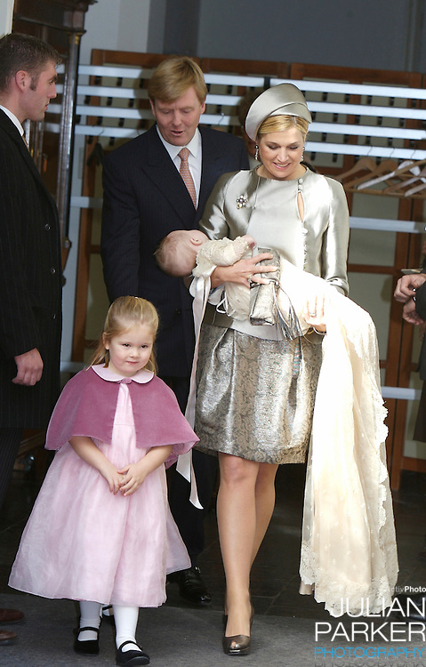 The Christening of Princess Ariane of The Netherlands, the youngest daughter of Crown Prince Willem Alexander and Crown Princess Maxima of The Netherlands with Princess Catharina Amalia at The Kloosterkerk in The Hauge, Holland.