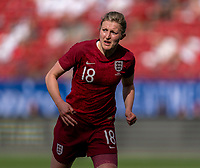 FRISCO, TX - MARCH 11: Ellen White #18 of England looks to the ball during a game between England and Spain at Toyota Stadium on March 11, 2020 in Frisco, Texas.