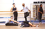 Bradford Rahmilow and dancers warming up during North American Premiere presentation of 'The Bodyguard' at The New 42nd Street Studios on November 10, 2016 in New York City.