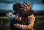 HALLANDALE BEACH, FL - JANUARY 27: Trainer Steve Asumussen hugs the owner of Gun Runner at Gulfstream Park Race Track on January 27, 2018 in Hallandale Beach, Florida. (Photo by Alex Evers/Eclipse Sportswire/Getty Images)
