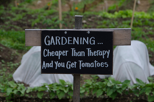 Sign in Community garden, Yarmouth Maine, USA