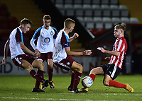 Lincoln City U18's Jon Smith vies for possession with South Shieldsy U18's Jordan Patterson<br /> <br /> Photographer Andrew Vaughan/CameraSport<br /> <br /> The FA Youth Cup Second Round - Lincoln City U18 v South Shields U18 - Tuesday 13th November 2018 - Sincil Bank - Lincoln<br />  <br /> World Copyright © 2018 CameraSport. All rights reserved. 43 Linden Ave. Countesthorpe. Leicester. England. LE8 5PG - Tel: +44 (0) 116 277 4147 - admin@camerasport.com - www.camerasport.com