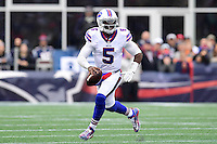 Sunday, October 2, 2016: Buffalo Bills quarterback Tyrod Taylor (5) in game action during the NFL game between the Buffalo Bills and the New England Patriots held at Gillette Stadium in Foxborough Massachusetts. Buffalo defeats New England 16-0. Eric Canha/Cal Sport Media