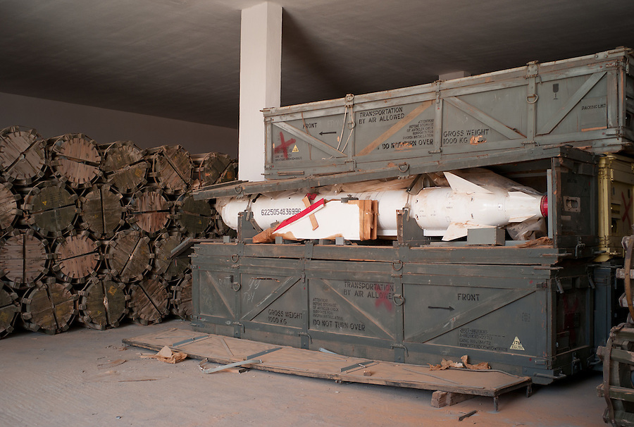 Unguarded weapons storage bunker in the Sahara Desert, Libya, Wednesday, October 26, 2011. With the civil war over, one of Libya's biggest obstacles will be securing the huge stockpiles of weapons and preventing dangerous materials from falling into the wrong hands.