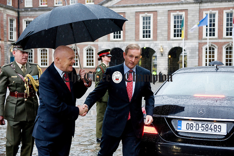 The Taoiseach Enda Kenny arrives for the Inauguration of President Michael D Higgins at Dublin Castle. Photograph by John Kelly.