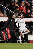 23rd November 2019; Estadio Santiago Bernabeu, Madrid, Spain; La Liga Football, Real Madrid versus Real Sociedad; Gareth Bale (Real Madrid)  readies himself to come on as a substitute