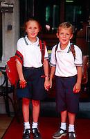 Belgian children, Markt (Market Square), Brugge, Belgium