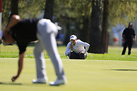 Matthew Fitzpatrick (ENG) on the 5th green during Saturday's Round 3 of the 2018 Omega European Masters, held at the Golf Club Crans-Sur-Sierre, Crans Montana, Switzerland. 8th September 2018.<br /> Picture: Eoin Clarke | Golffile<br /> <br /> <br /> All photos usage must carry mandatory copyright credit (&copy; Golffile | Eoin Clarke)