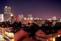 Aerial skyline of the French Quarter at night. New Orleans, Louisiana.