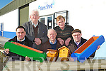 TRALEE MENS SHED: Member's of Tralee Mens Shed launching their new furniture and woodwork product for sale at Tralee Mart on Monday seated l-r: Kieran Nolan, Jerome Qurike and Matt Qurike. Back l-r: Jim Wrenn and John Foley.