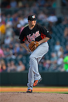 Norfolk Tides starting pitcher Kevin Gausman (39) in action against the Charlotte Knights at BB&T BallPark on July 17, 2015 in Charlotte, North Carolina.  The Knights defeated the Tides 5-4.  (Brian Westerholt/Four Seam Images)