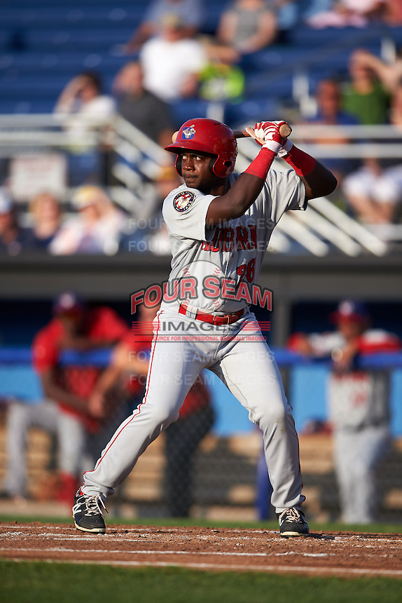Auburn Doubledays outfielder Luis Guzman (26) at bat during a game against the Batavia Muckdogs on July 10, 2015 at Dwyer Stadium in Batavia, New York.  Auburn defeated Batavia 13-1.  (Mike Janes/Four Seam Images)